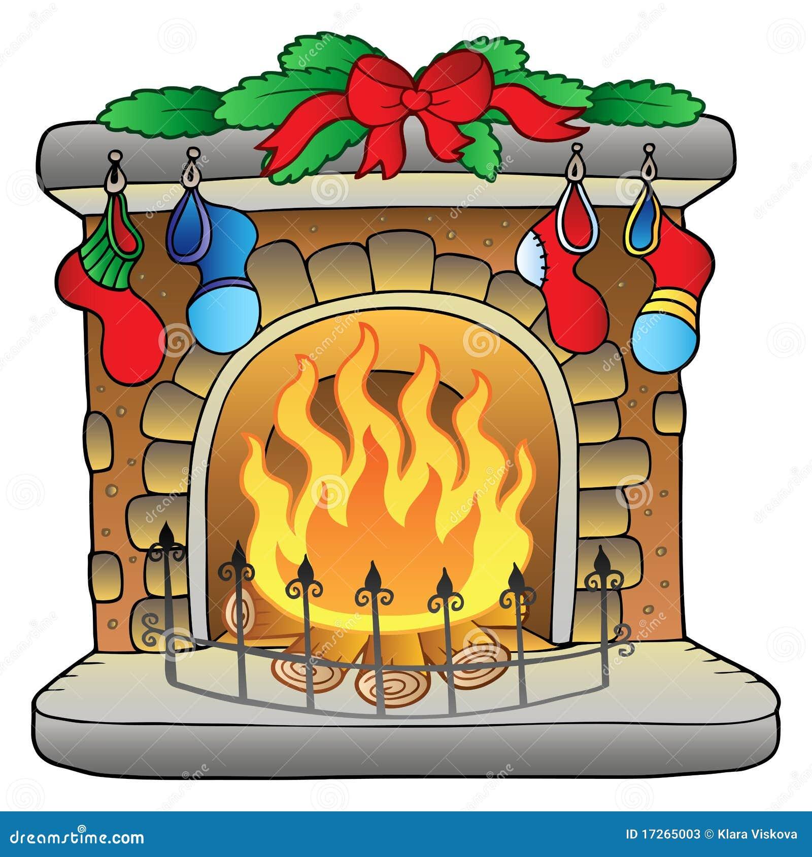 Christmas Cartoon Fireplace Stock Vector - Image: 17265003