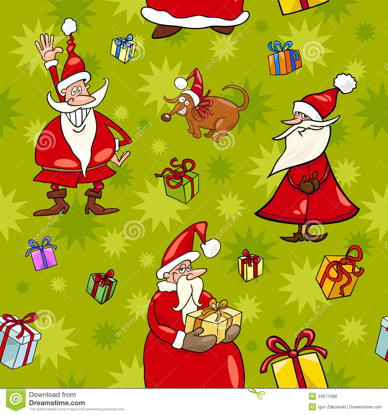 Christmas Cartoon Seamless Pattern Design Royalty Free