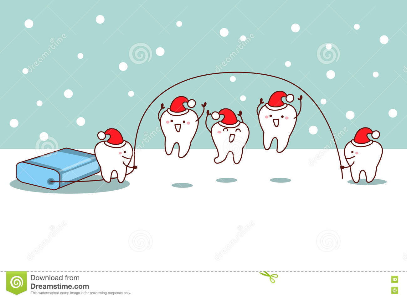 Christmas Cartoon Tooth With Floss Stock Vector - Image: 77895756