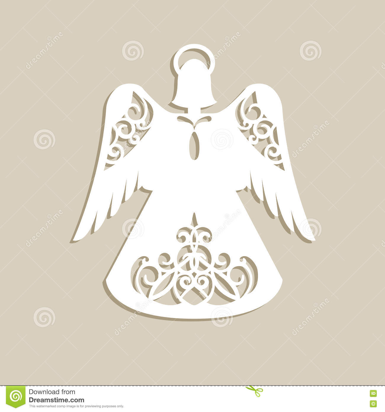 Christmas carved openwork angel stock vector for Angel tree decoration template