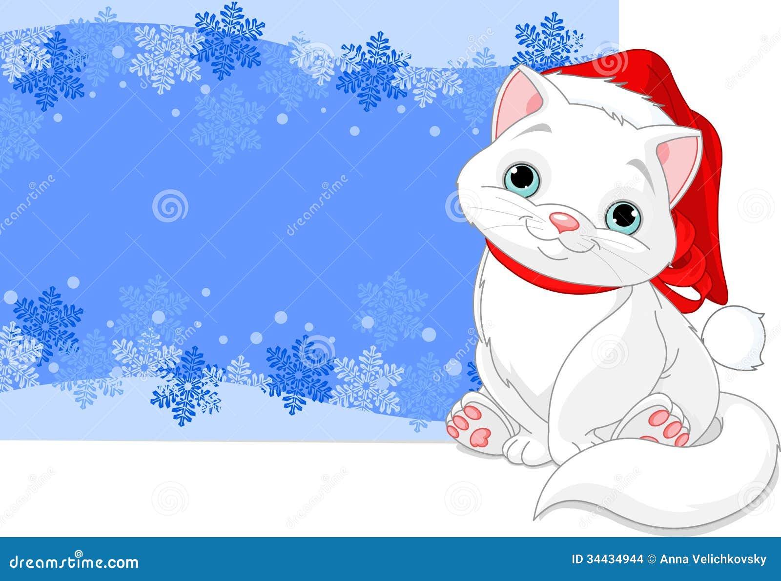 Christmas Cat Background Stock Images Image 34434944