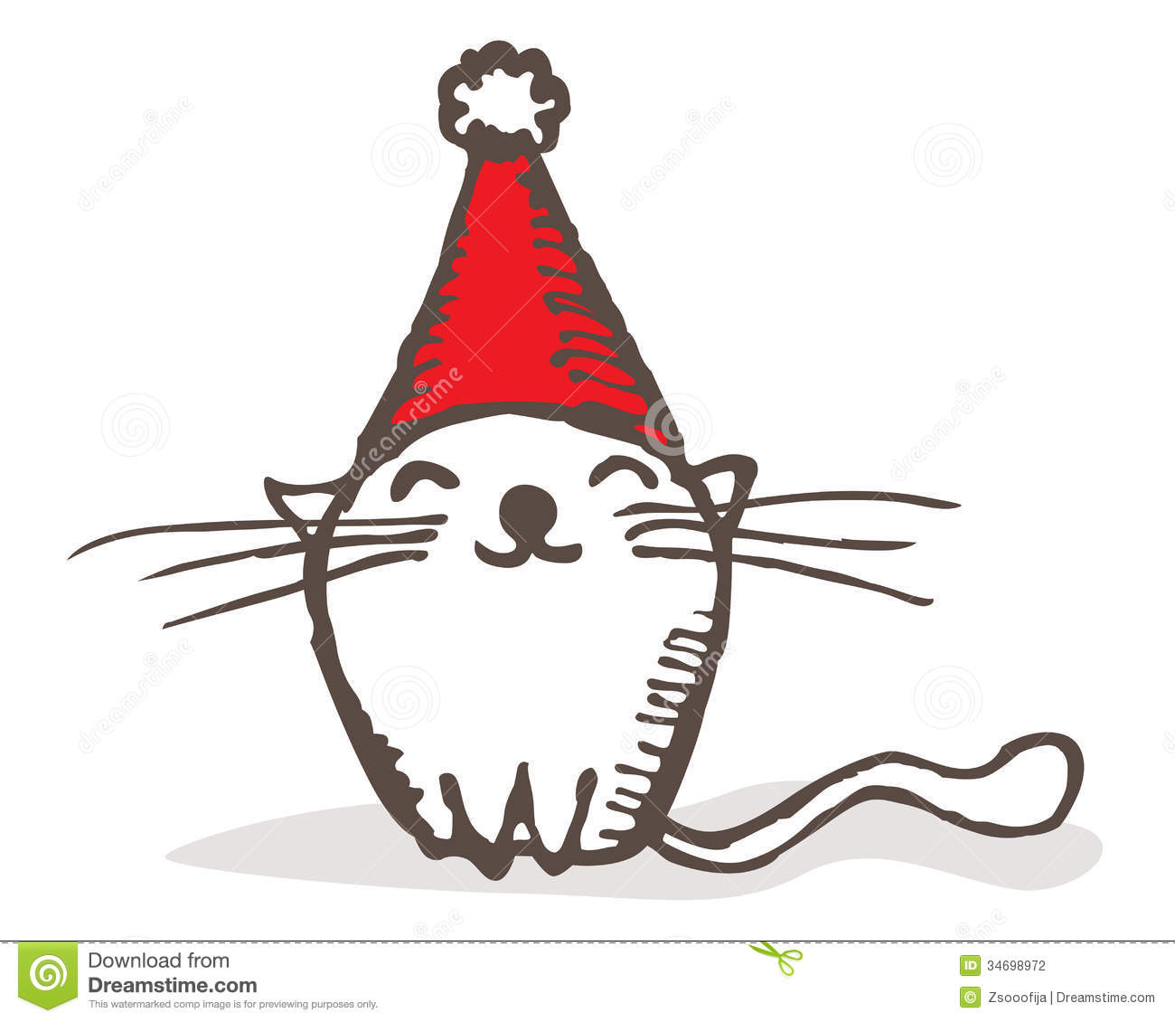 Christmas Cat Stock Vector Illustration Of Cute Simple