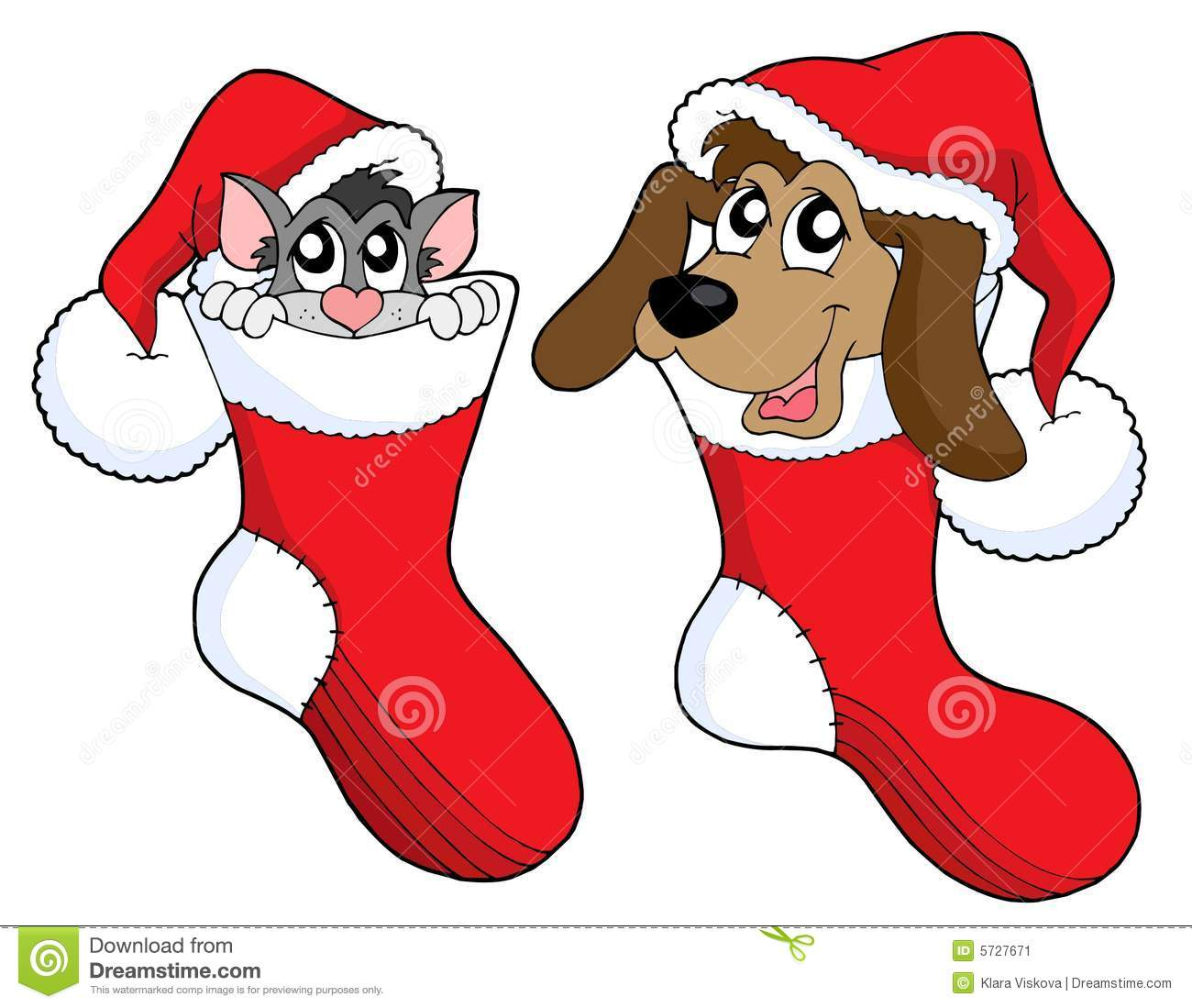 Christmas Cat And Dog Vector Stock Image - Image: 5727671