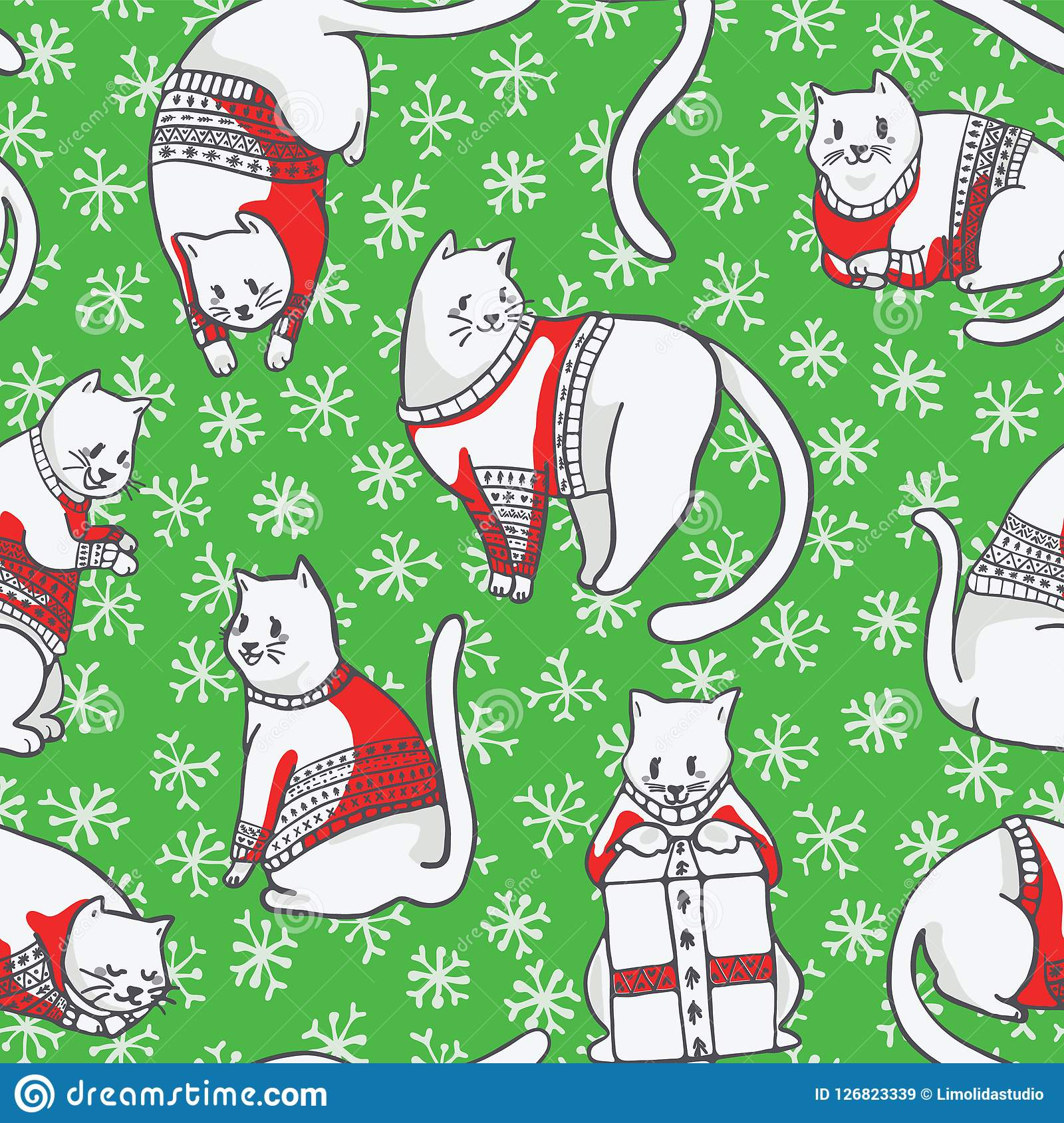 Christmas Cats in Knitted Sweaters Seamless Vector Pattern
