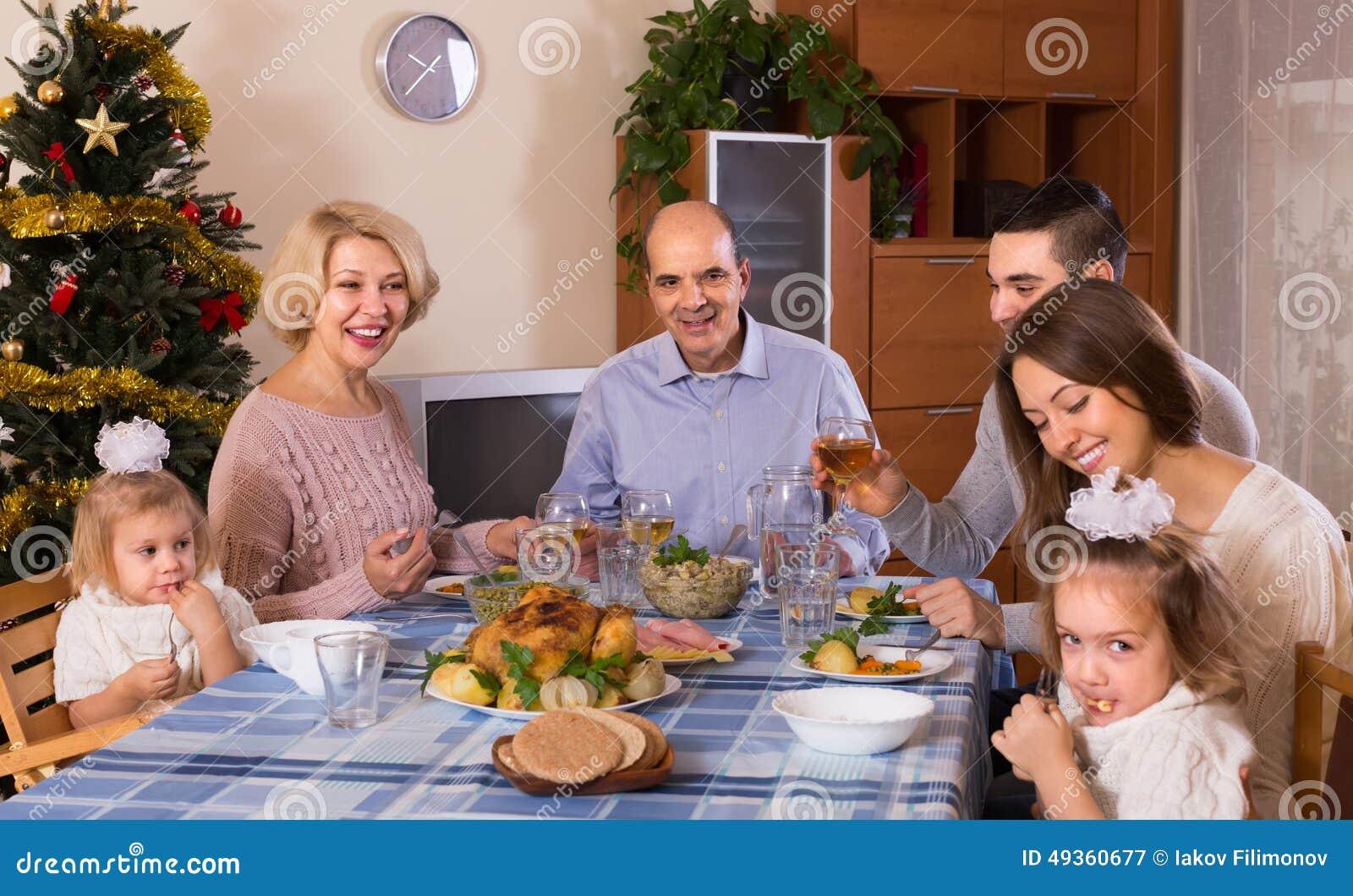 Christmas celebration in the bosom of family stock photo