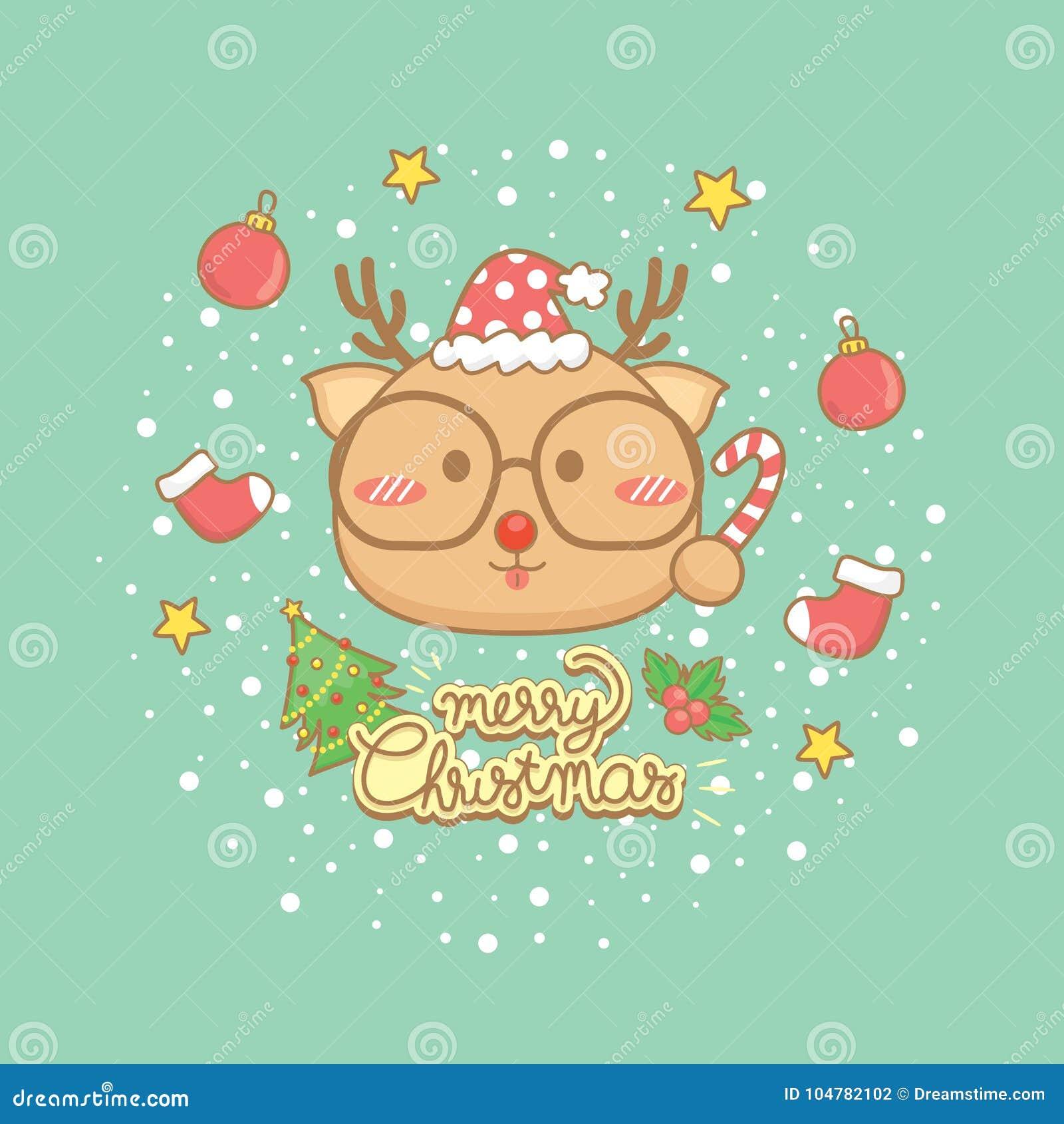 Christmas Celebration Cartoon Images.Christmas Celebration Greeting Card Set Stock Vector