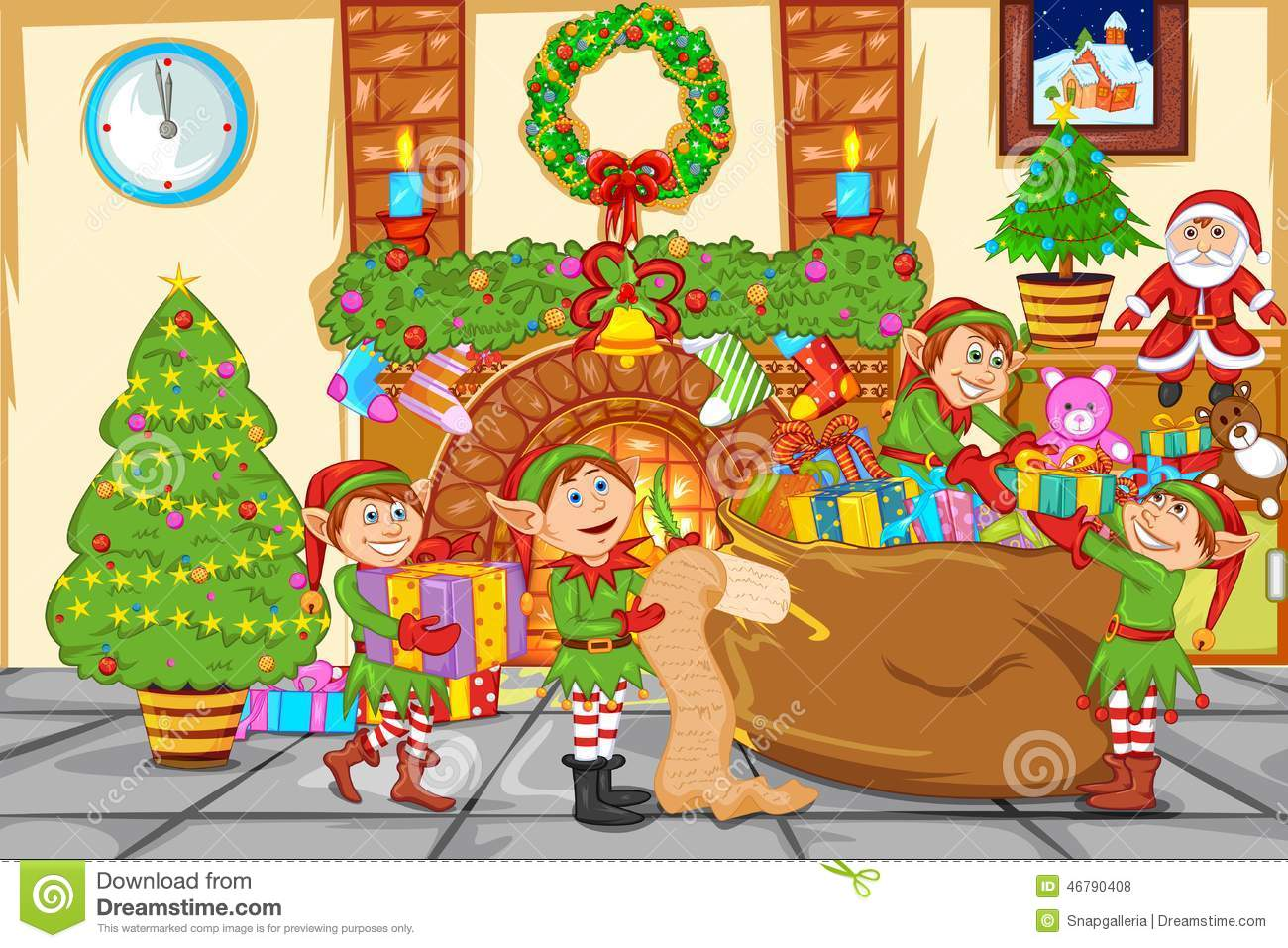 Christmas Celebration With Santa Stock Vector ...