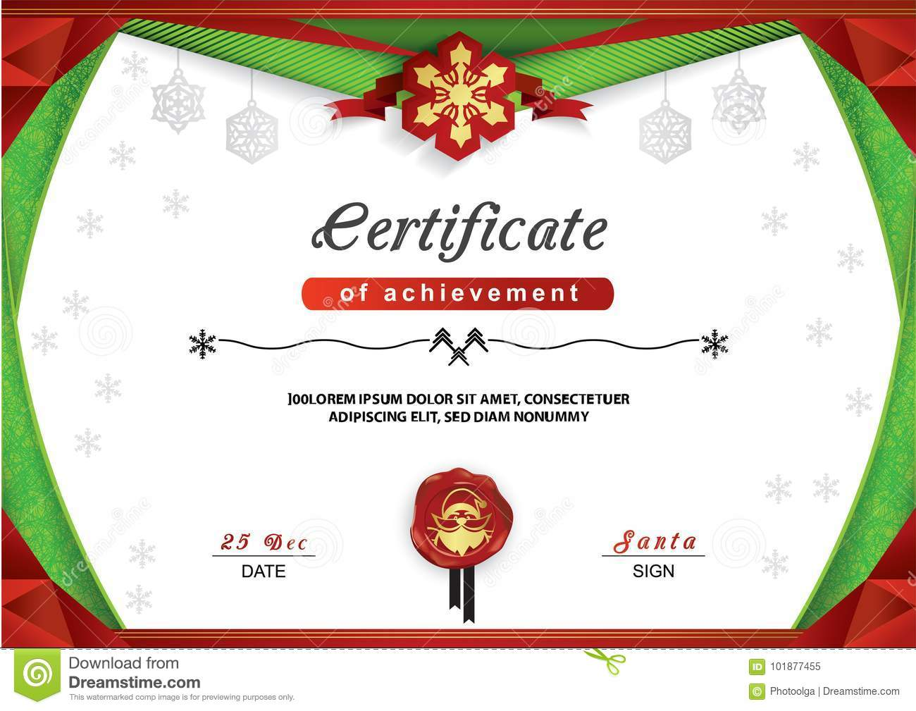 Christmas Certificate Green Red Border And Snowflake Emblem Gold