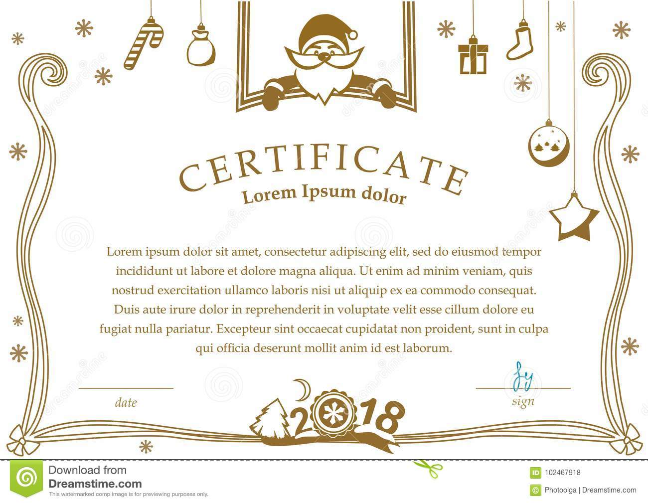 Christmas Certificate Santa And Christmas Decorations On White