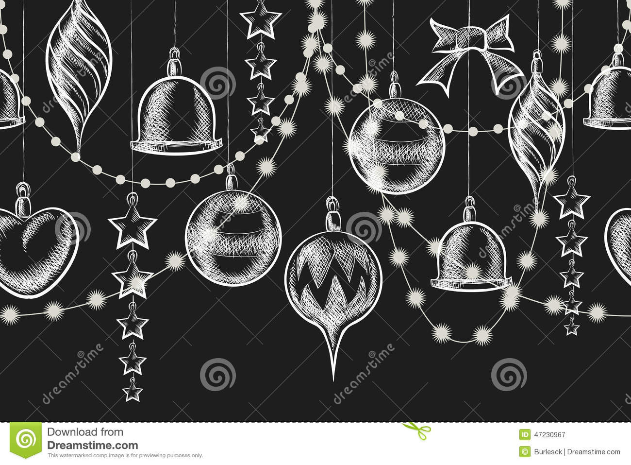 Christmas chalkboard ornament stock vector image