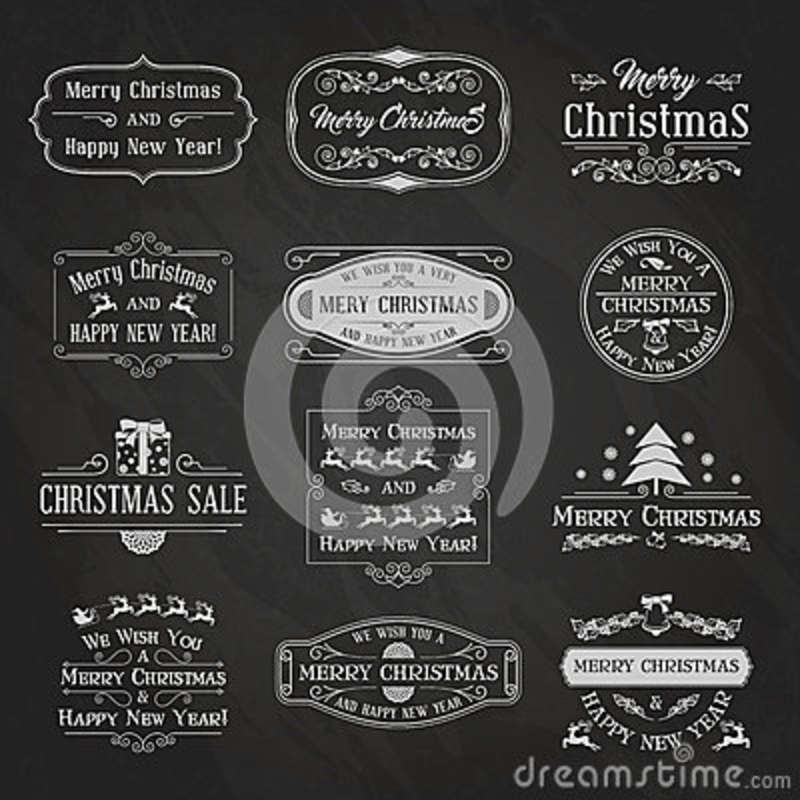 vintage christmas and new year labels and badges set typographic background with chalk word art on blackboard vector illustration