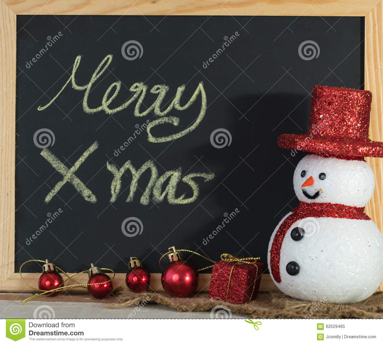 Christmas Chalkboard For Text Decoration With Snowman And ...