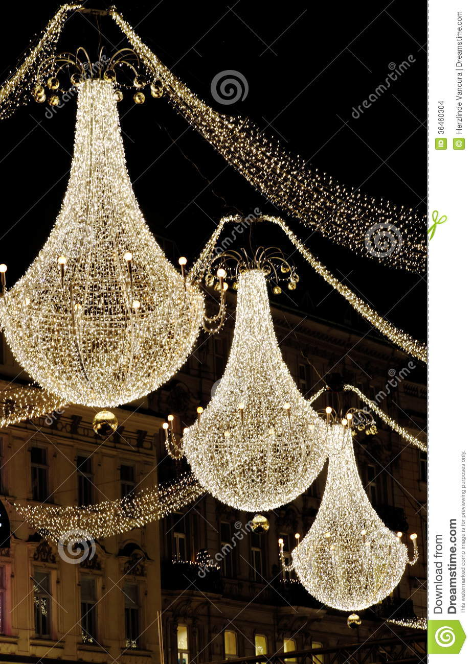 download christmas chandeliers stock photo image of white vienna 36460304 - How To Decorate A Chandelier For Christmas