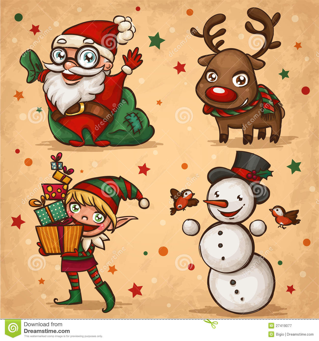 christmas characters royalty free stock photography image 27419077