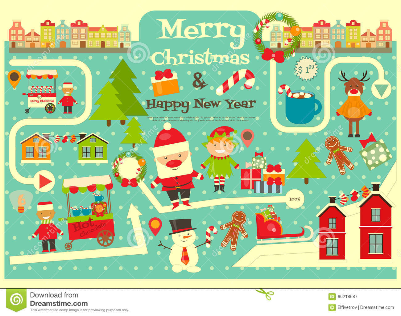christmas characters on city map stock vector image
