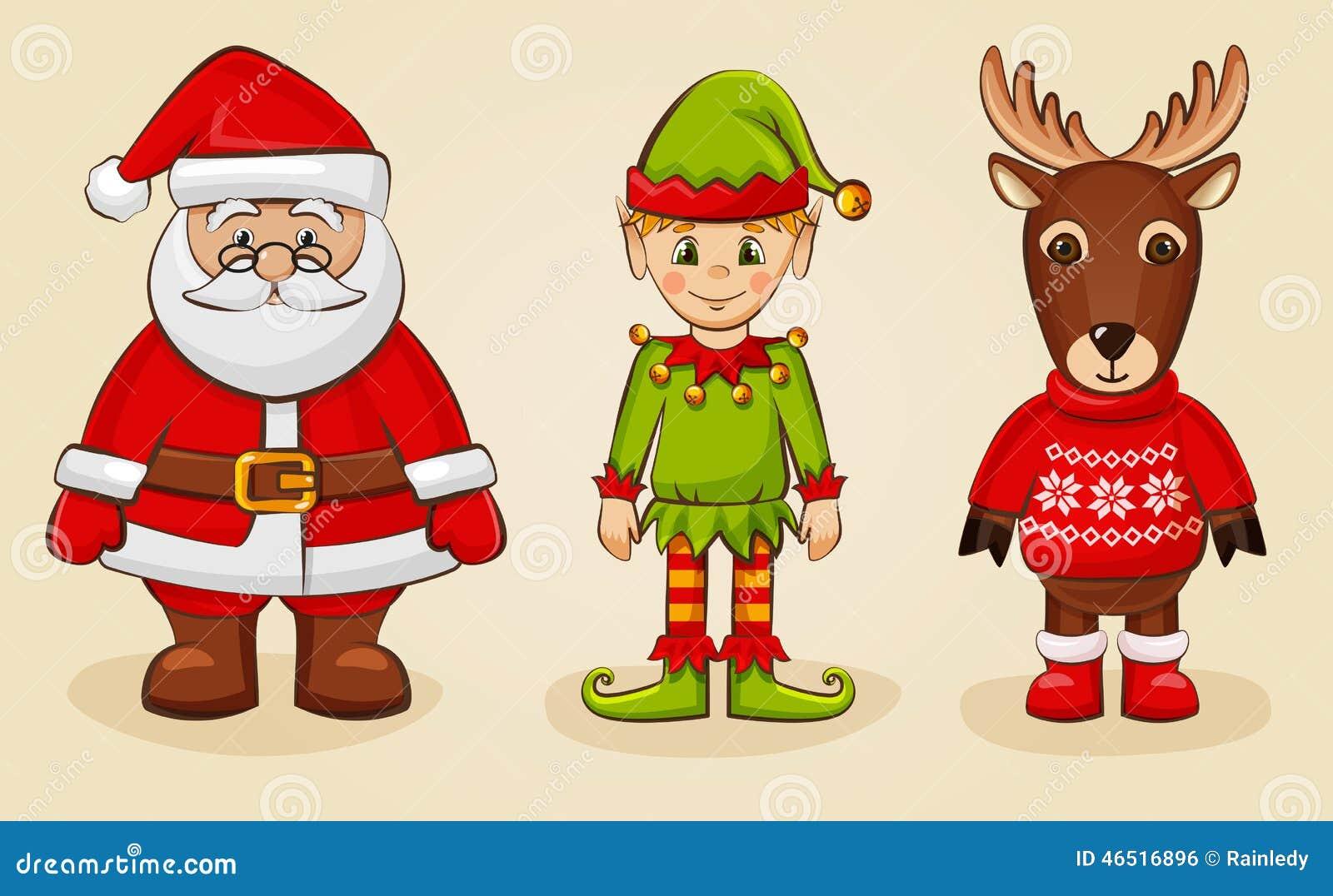 christmas characters santa elf and reindeer vector set
