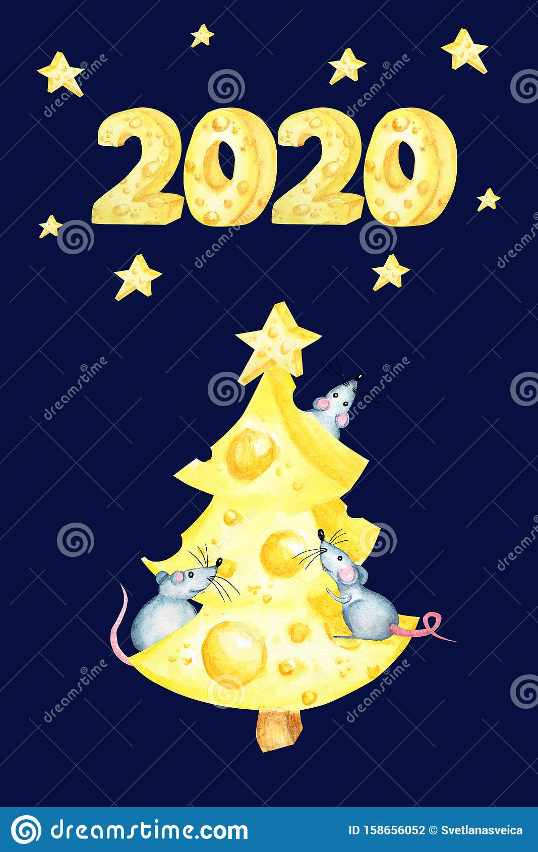Christmas Cheese Tree With Rat. New Year Greeting Card ...