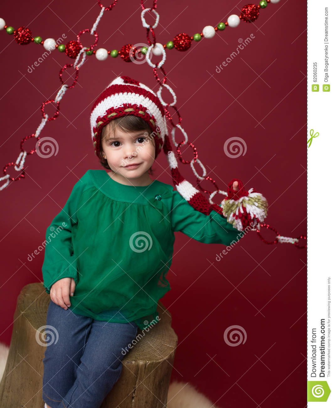 christmas child in santa elf hat stock image image of stump