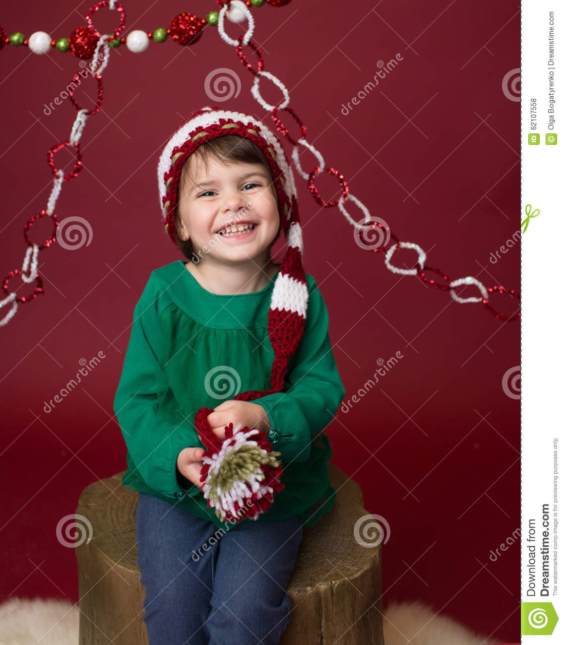christmas child in santa elf hat stock photo image of festive