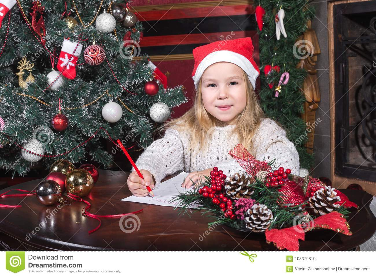 Christmas Child Write Letter To Santa Claus Stock Photo  Image Of