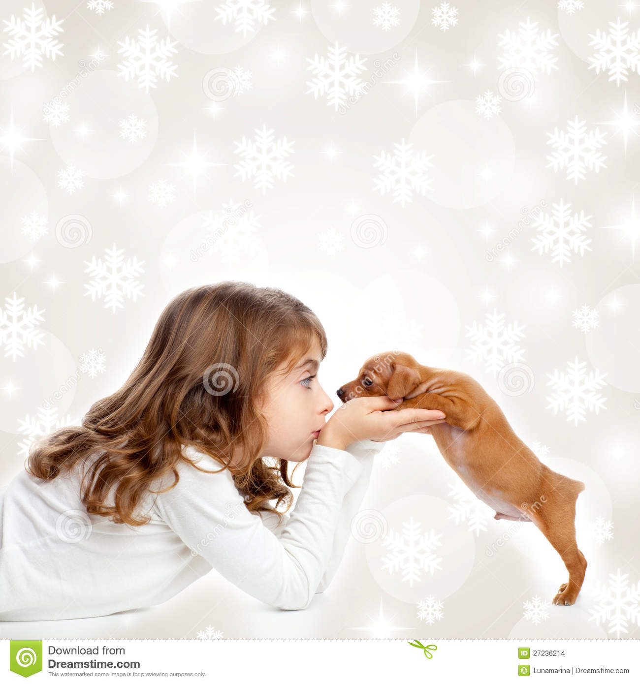 Christmas Children Girl Hug A Puppy Brown Dog Stock Images - Image ...