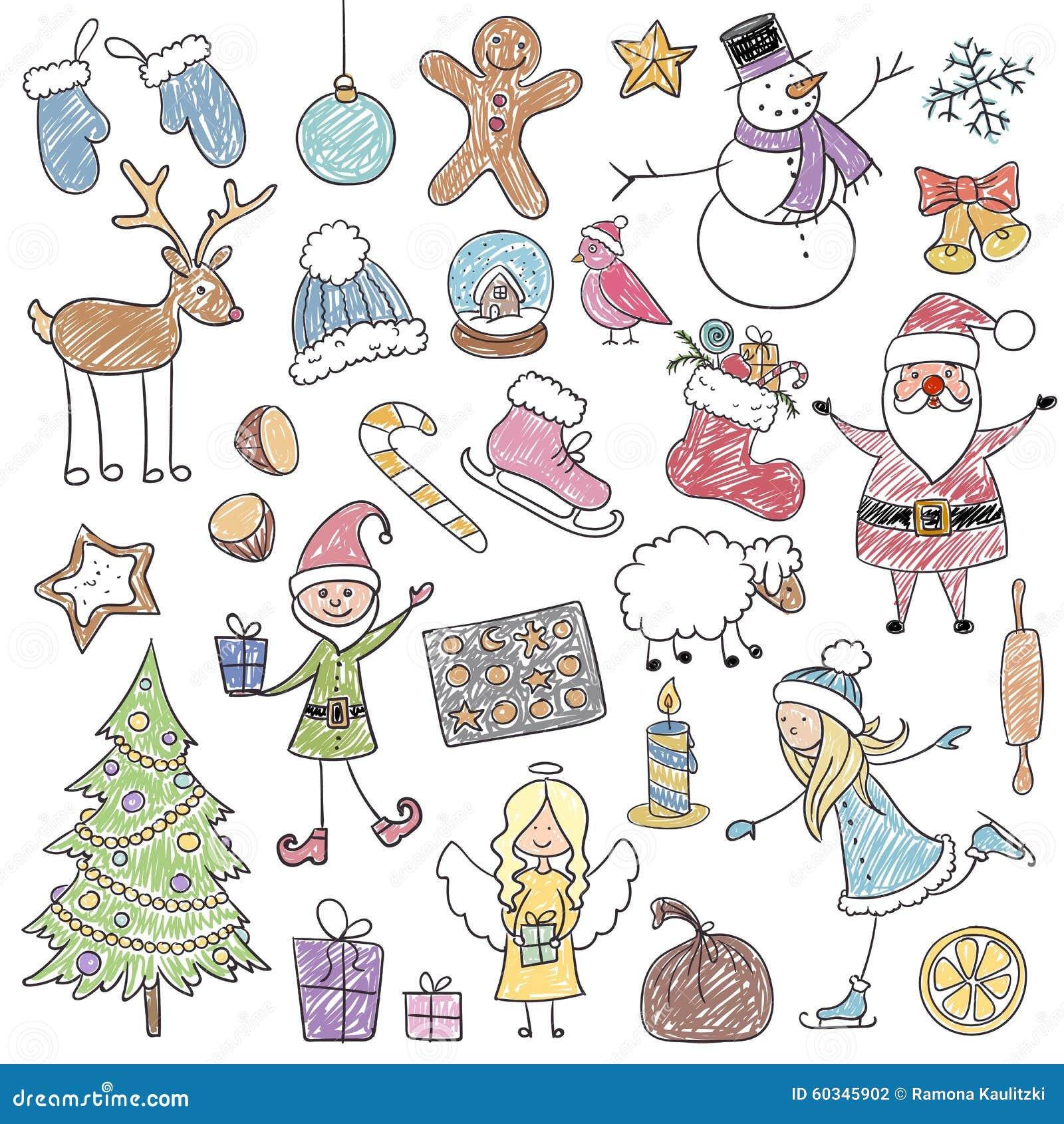 Christmas Drawings.Christmas Children S Drawings Stock Illustration