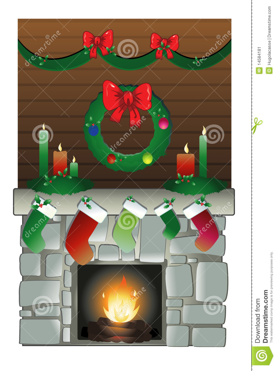 Christmas Chimney Stock Vector Image Of Green Vector