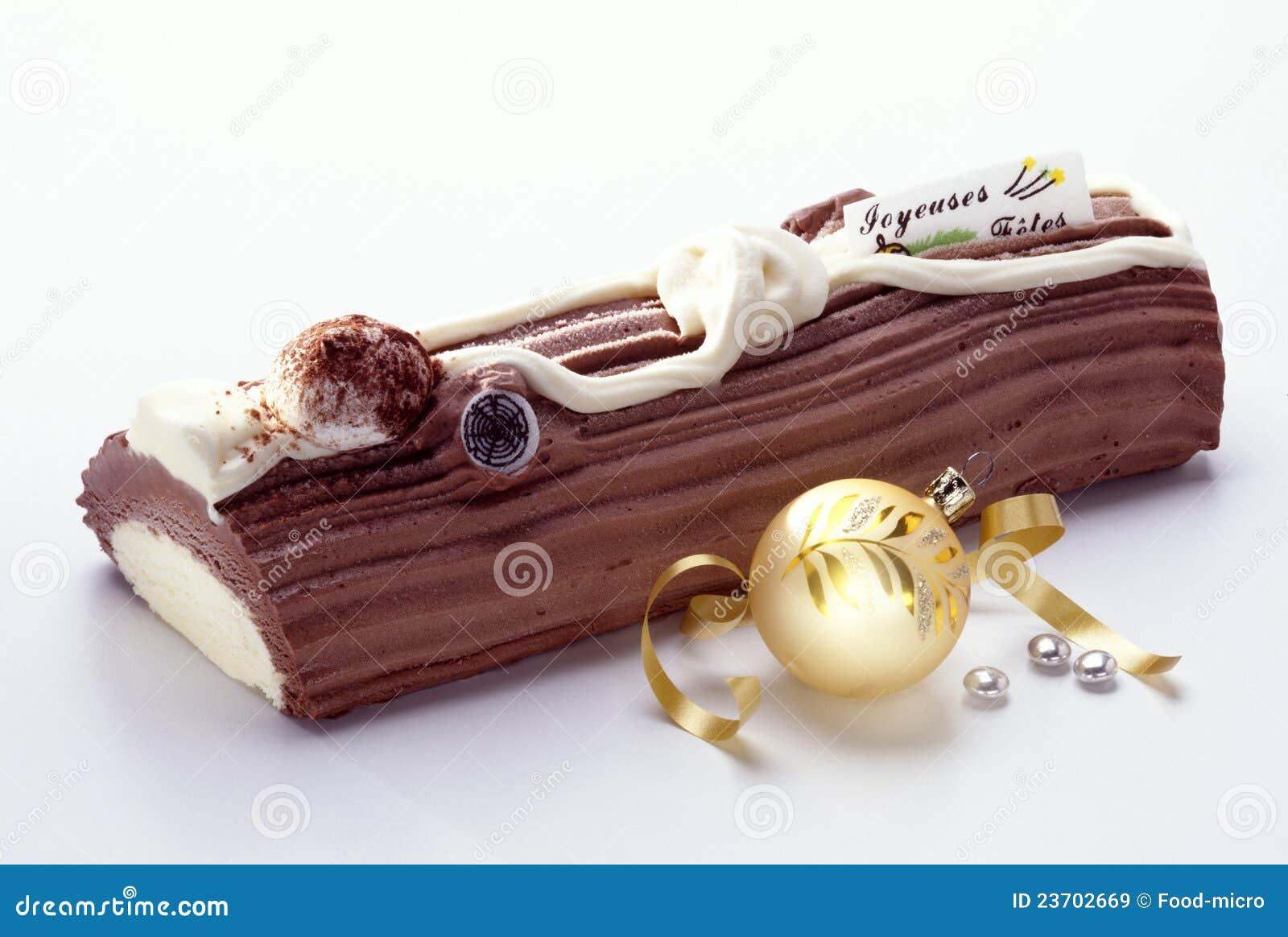 Yule Log Ice Cream Cake