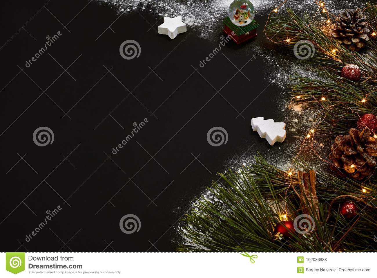 christmas christmas tree colored decor stars balls on black background top view copy space still life flat lay new year