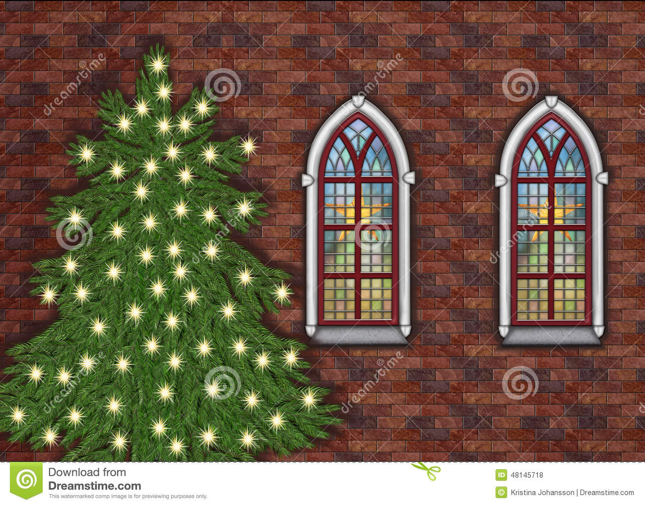 Christmas Church With Stars In The Windows And A Christmastree Outside