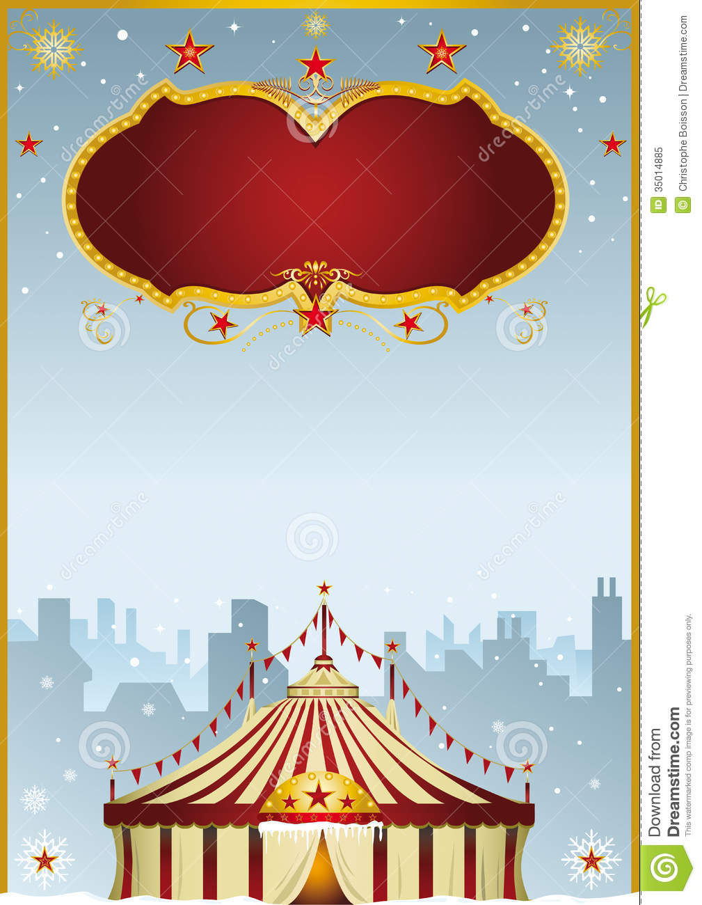 Christmas Carnival Poster.Christmas Circus In The City Stock Vector Illustration Of