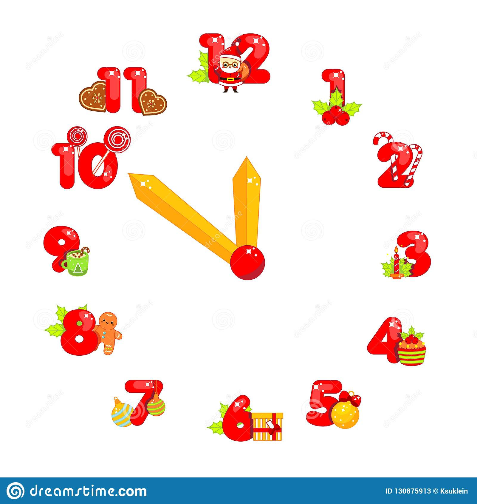 Countdown To Christmas Clock.Christmas Clock Face Colorful New Year Countdown With