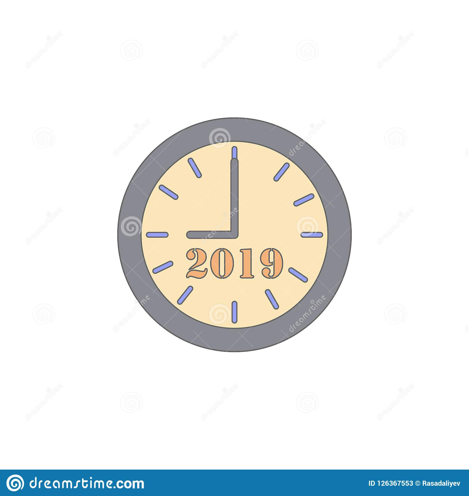 Christmas clock last minutes colored icon. Element of Christmas holiday colored icon. Premium quality graphic design icon. Signs a