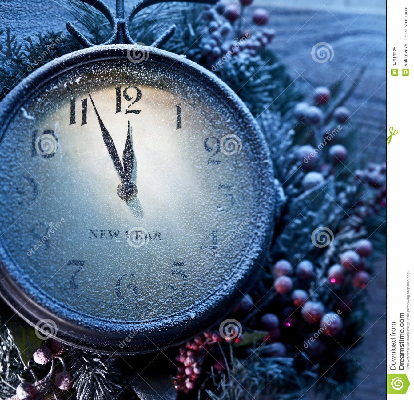 Christmas Clock Over Snow Wooden Background. Royalty Free ...