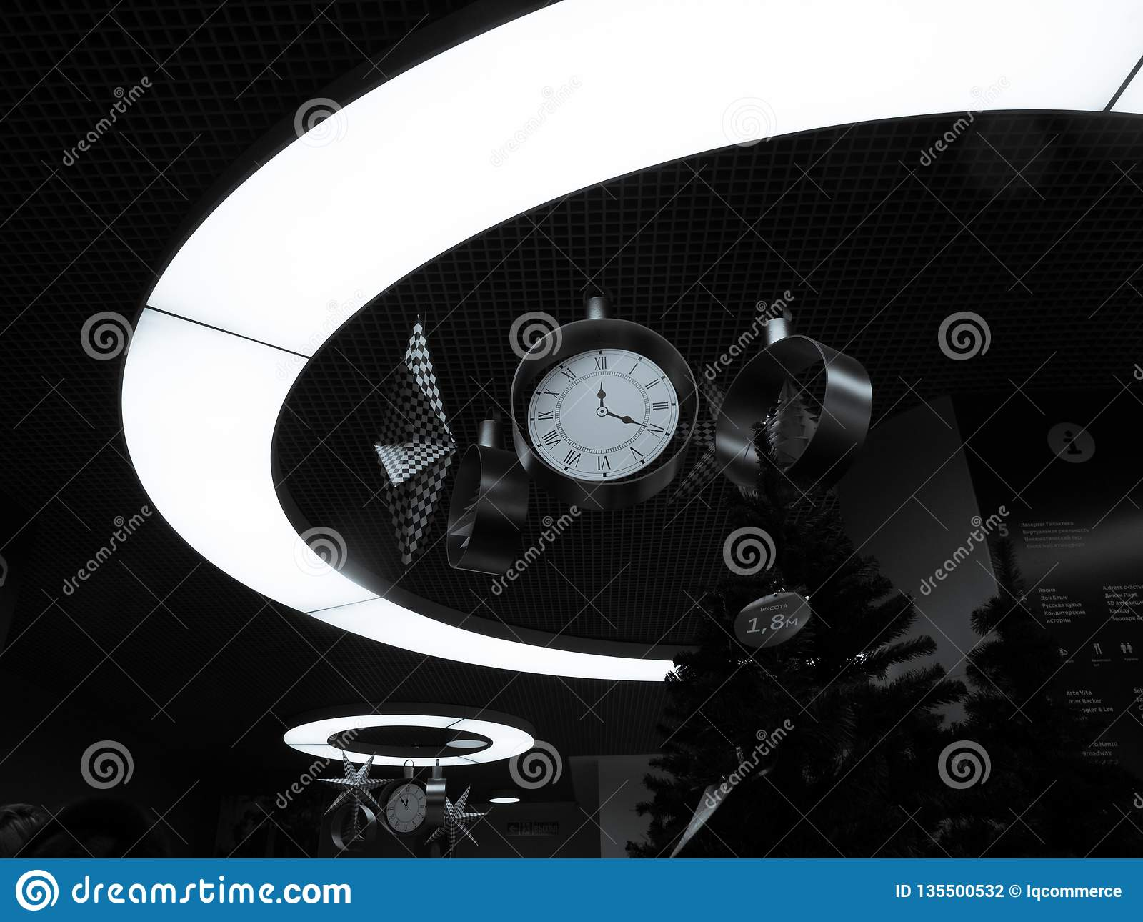 Decorative clocks with stars in the lighting circle