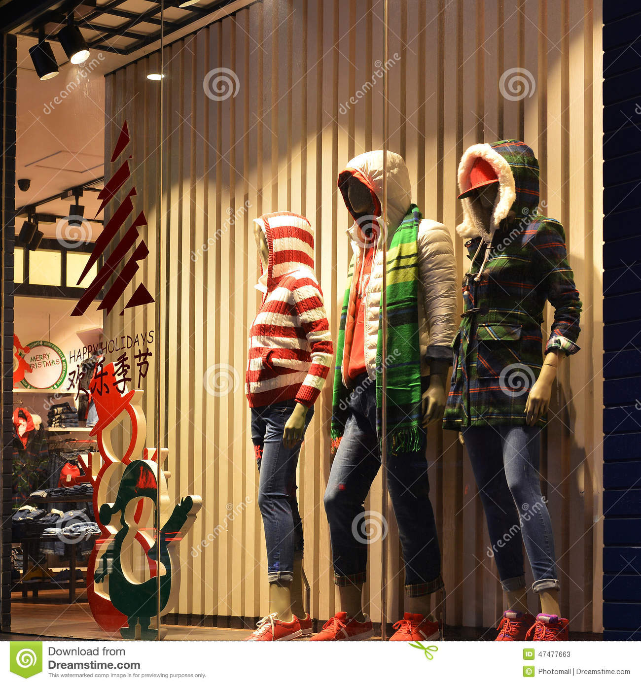 Christmas Clothing Window Winter Fashion Boutique Display