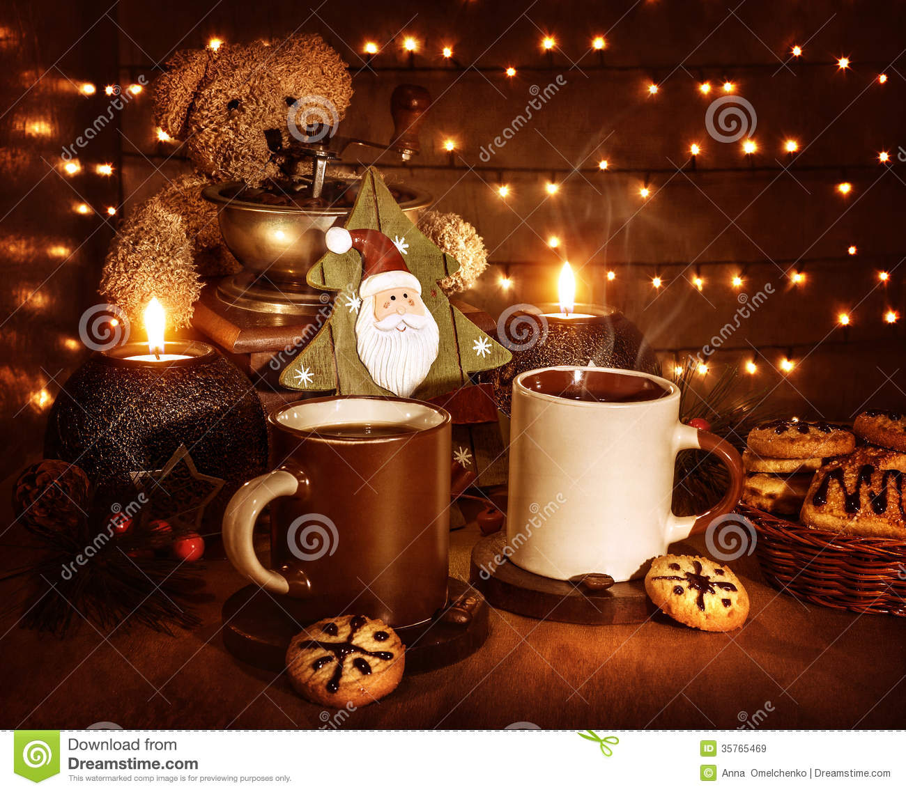 Christmas still life, tasty traditional dessert, two cups of coffee ...