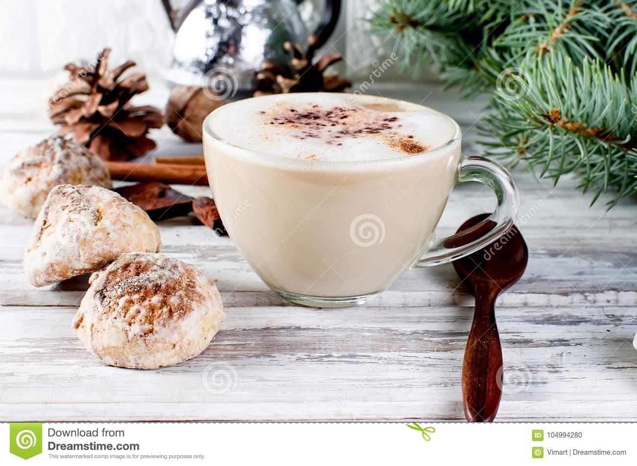 Christmas Coffee With Milk, Spice Or Hot Cocoa, Pine Cones Stock ...