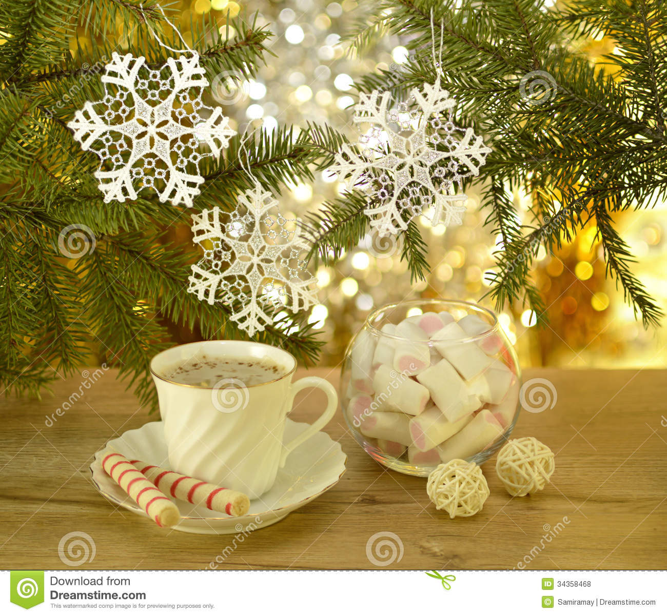Christmas Decorations For Coffee Shops: Christmas Coffee With Sweets Stock Photo