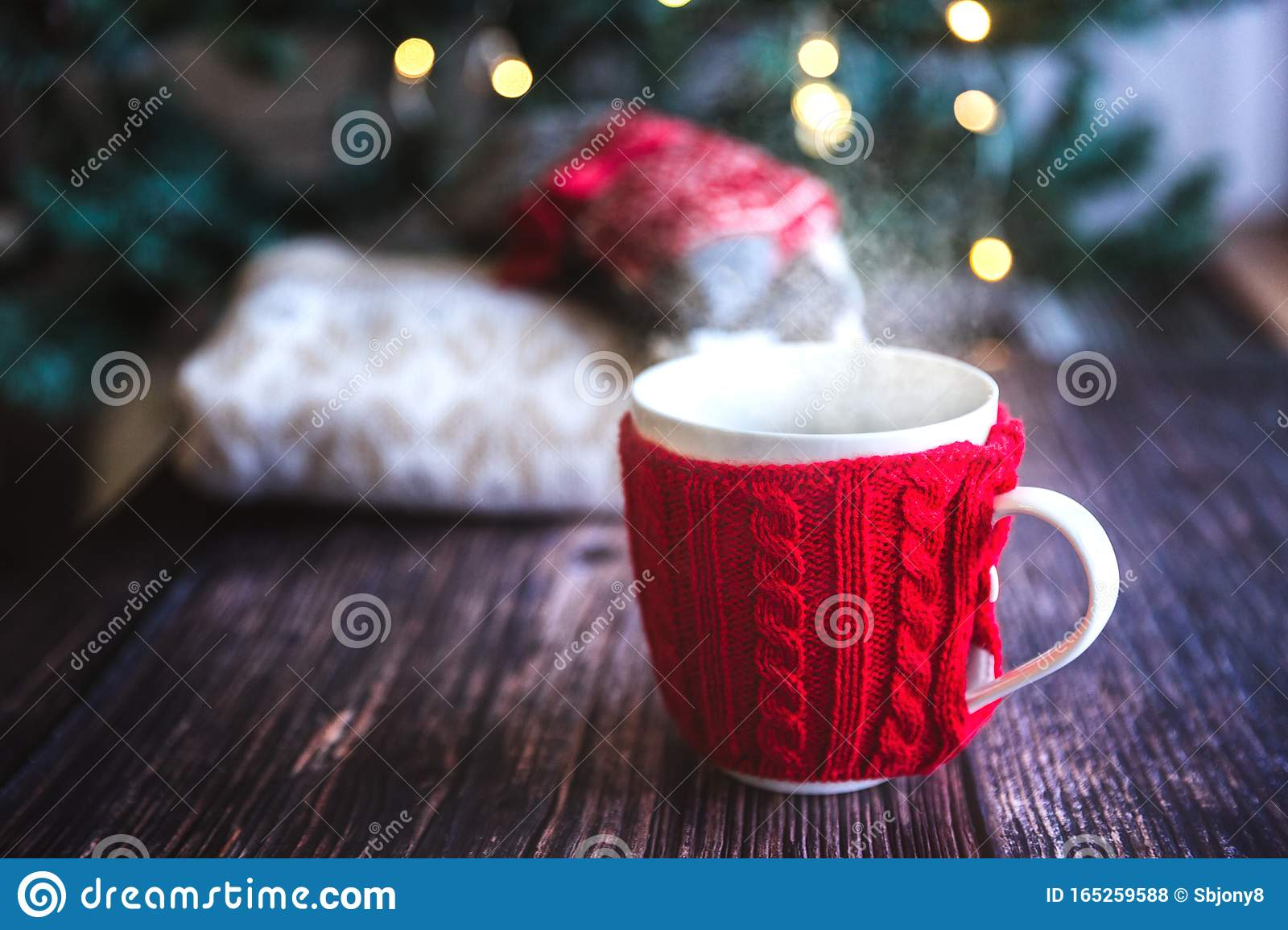 Christmas Coffee Or Tea Red Mug With Steam Homemade Gingerbread Christmas Cookies On A Wooden Table Sweeters On Stock Photo Image Of Design Drink 165259588
