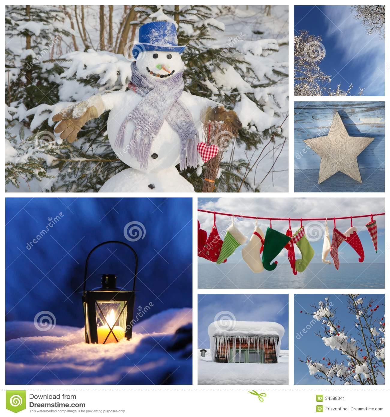 Christmas Collage In Blue - Ideas For Decoration Or A ...