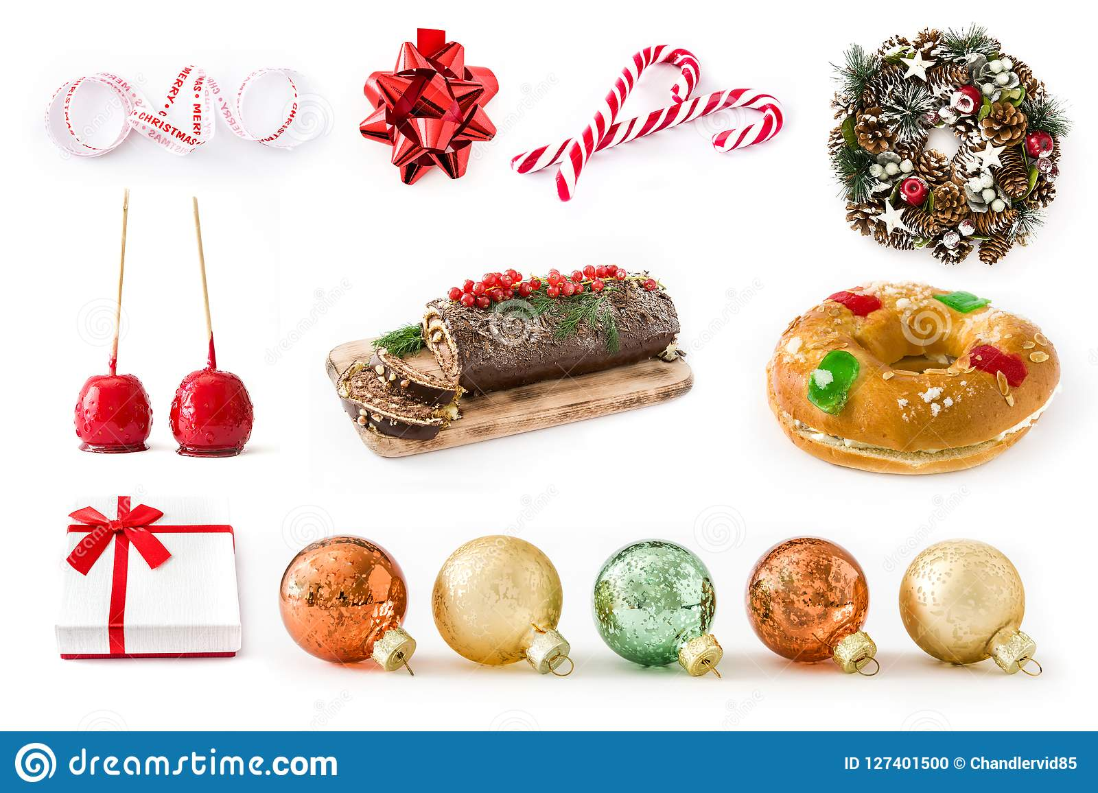 Christmas Collage Christmas Food And Christmas Ornaments Stock