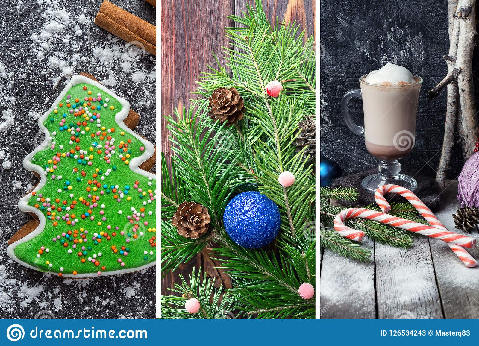 Christmas collage with festive images.