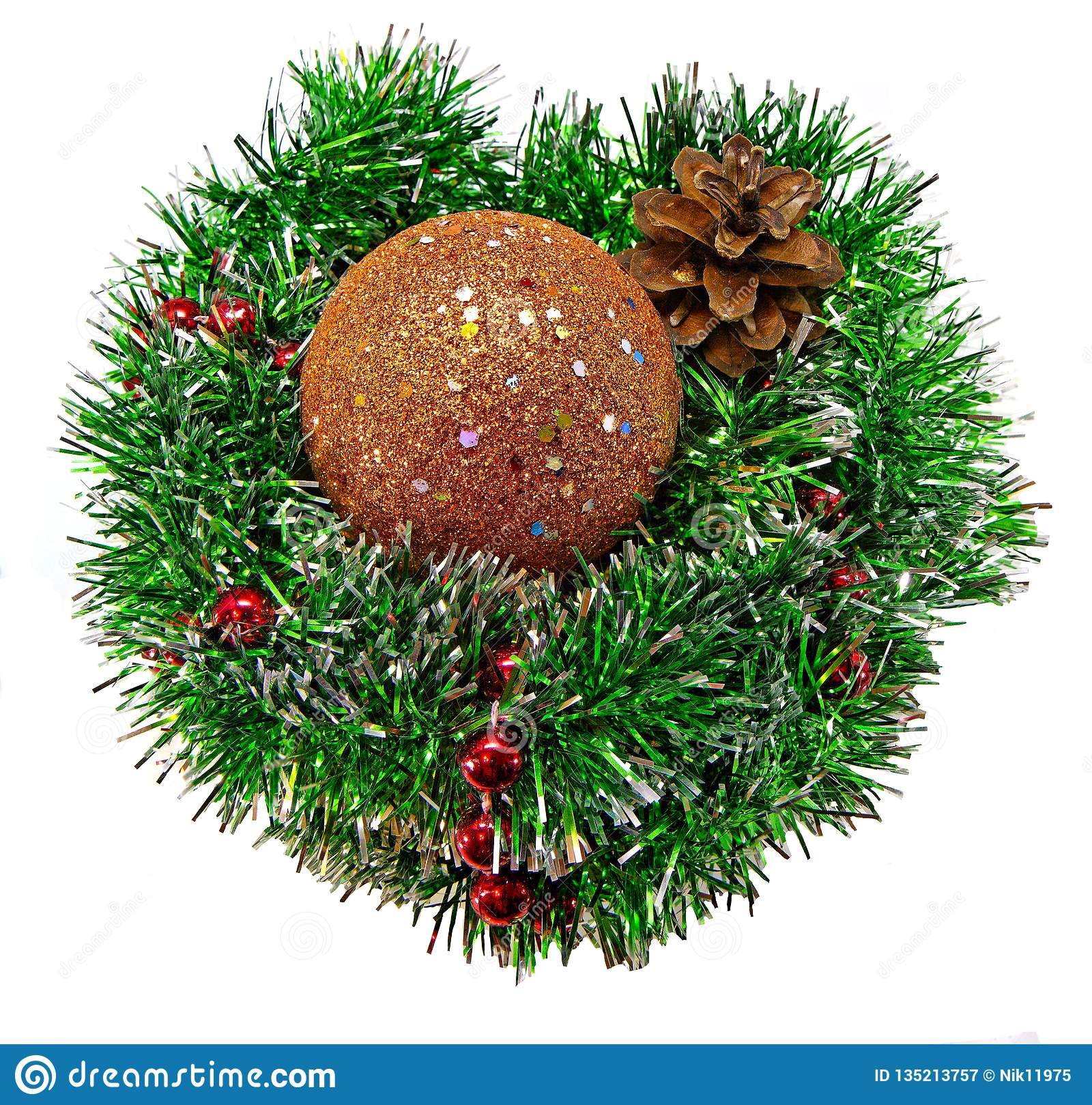 Christmas collage shiny Golden ball on Christmas tinsel