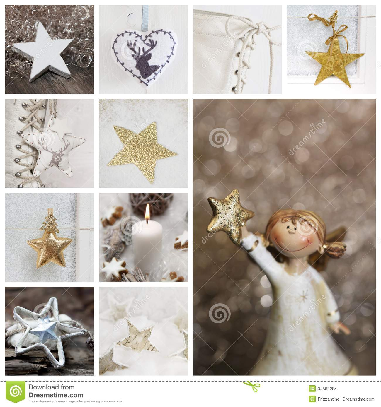 Christmas Collage In White And Gold With Angel Candle Stars An Stock Image Image Of Mosaic Christmas 34588285