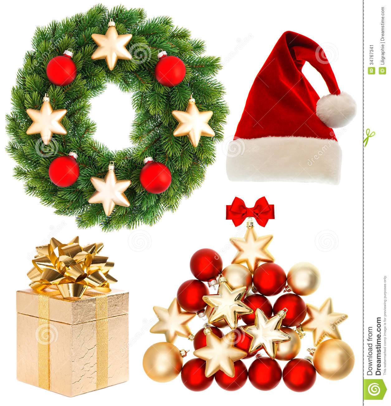 Christmas collection isolated on white background stock for Christmas decoration stuff
