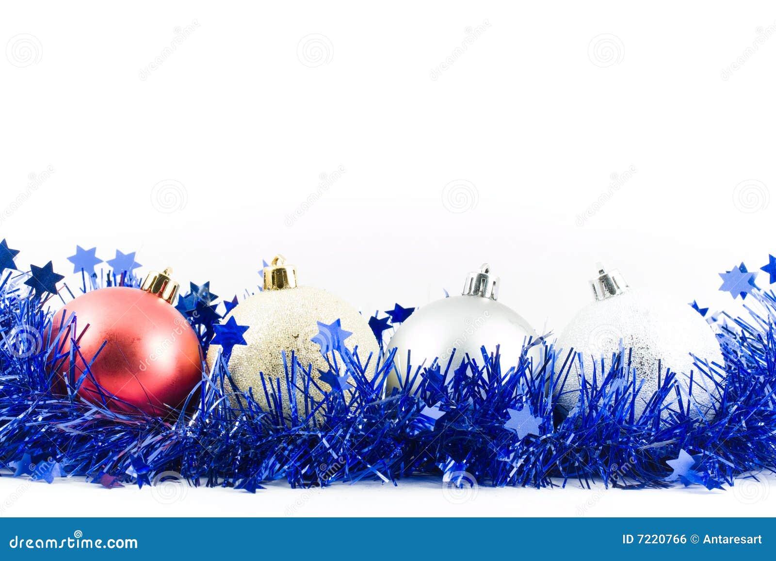 Christmas balls hanging on tinsel stock photo