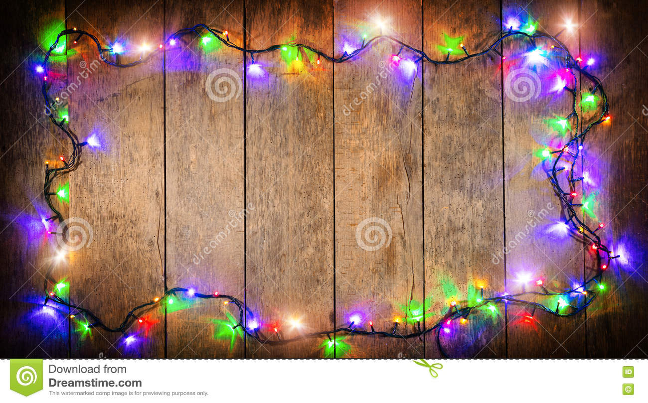 download christmas colored lights with decoration on wood stock photo image of board plank