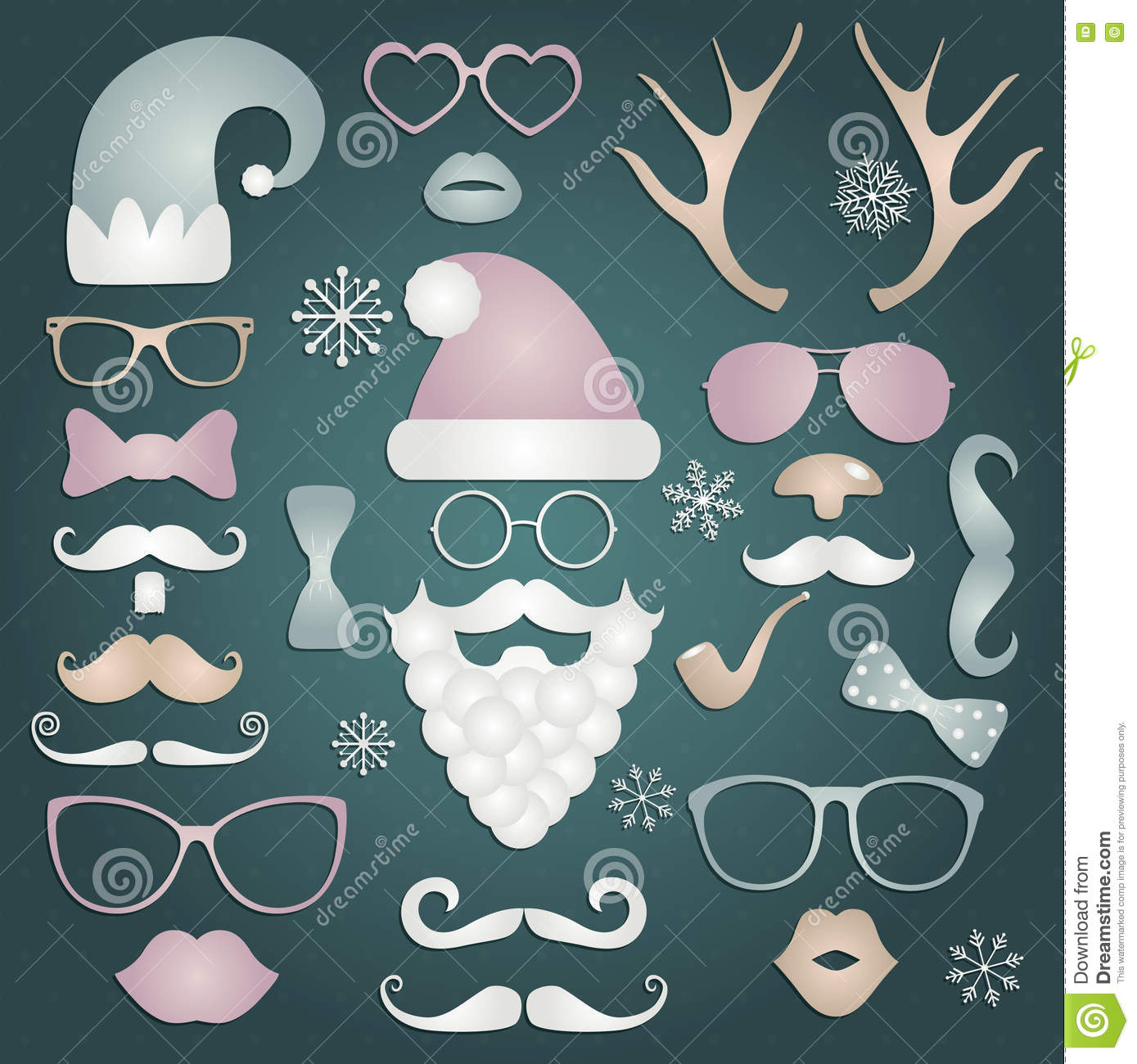 Christmas Colorful Fashion Silhouette Set Hipster Style Vector Illustration