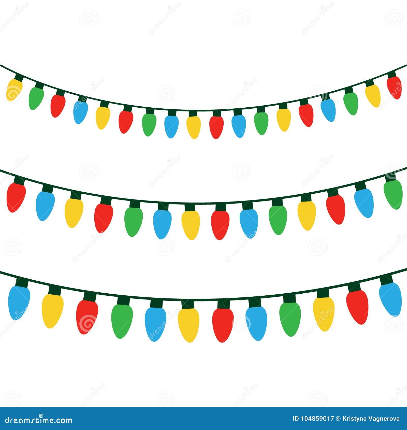 Christmas Colorful Lights On String Stock Vector